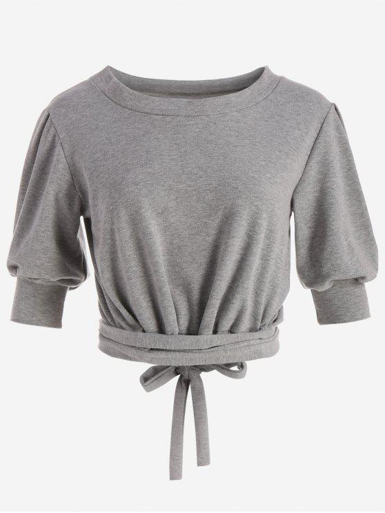 lady Casual Cropped Wrap Top - GRAY ONE SIZE