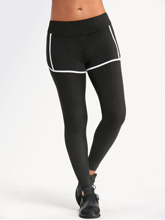 online Sweat Absorbent Overlay Yoga Leggings - BLACK XL