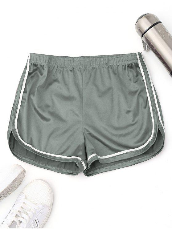 trendy Elastic Waist Satin Sports Dolphin Shorts - SAGE GREEN L