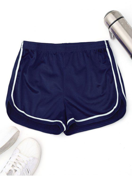 fancy Elastic Waist Satin Sports Dolphin Shorts - BLUE L