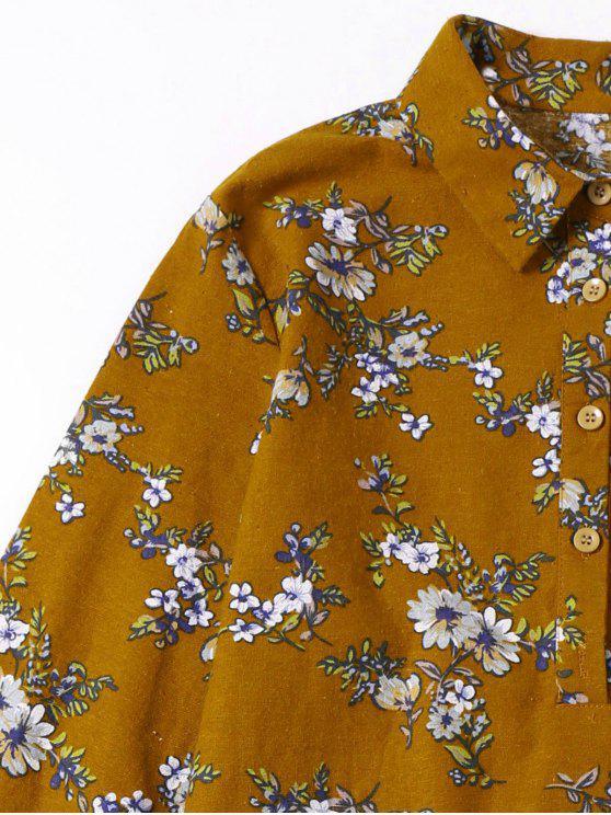 VolantOcre Chemise L Robe Mini Florale Jaune À oErdBeQCxW
