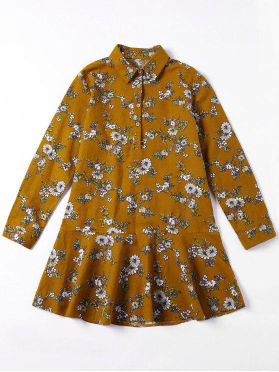 فستان شيرت مصغر طباعة الأزهار المصغرة كشكش - المغرة الصفراء XL