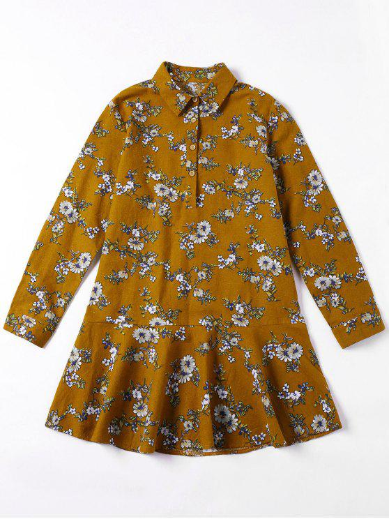 hot Flounced Tiny Floral Mini Shirt Dress - YELLOW OCHER XL