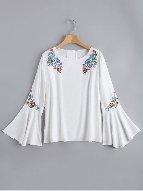 بلوزة مطرزة بالأزهار توهج الأكمام فضفاض - أبيض L