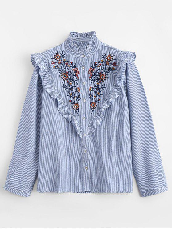 buy Ruffles Embroidered Stripes Shirt - STRIPE L