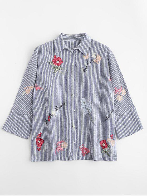 womens Floral Embroidered Button Down Stripes Shirt - STRIPE L