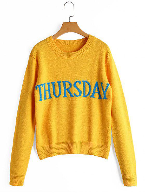 Letter Graphic Crew Neck Sweater YELLOW: Sweaters ONE SIZE | ZAFUL