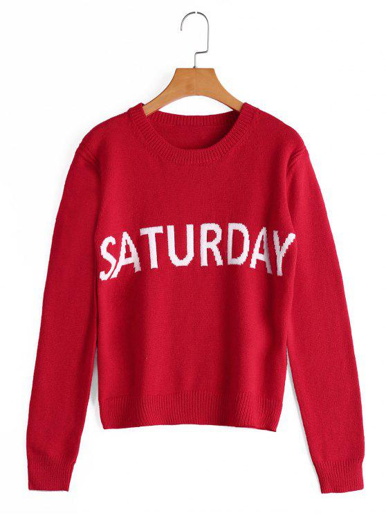 fashion Letter Graphic Crew Neck Sweater - RED ONE SIZE