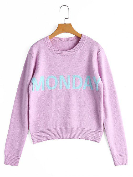 buy Letter Graphic Crew Neck Sweater - PINKISH PURPLE ONE SIZE