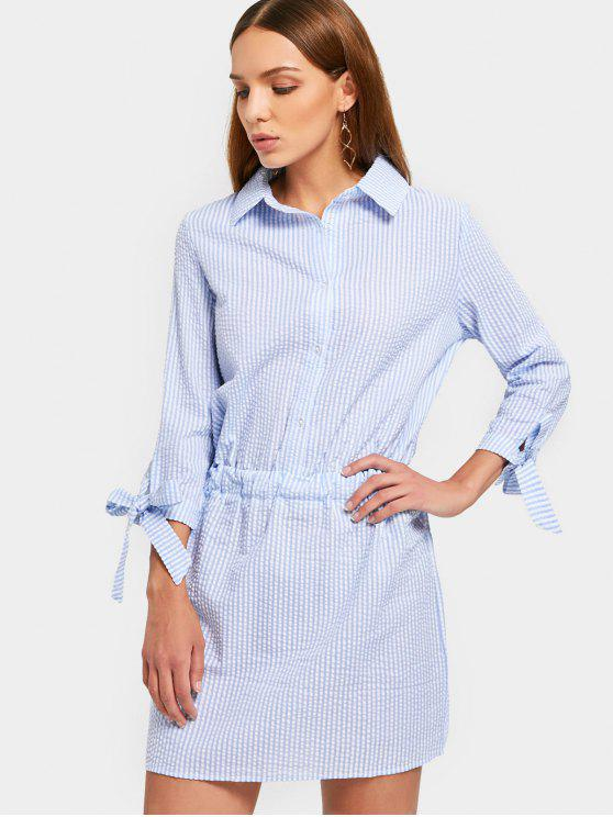 buy Self Tie Sleeve Striped Dress - LIGHT BLUE 2XL