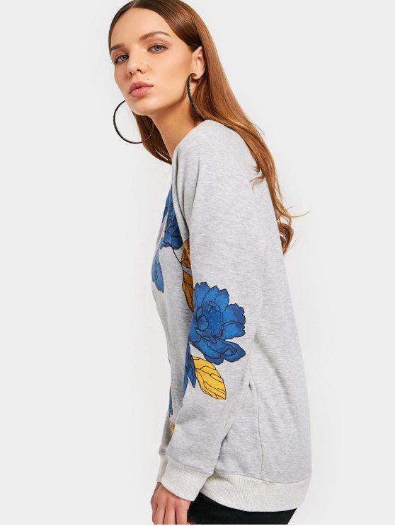 2xl shirt RaglanGris À Fleurs Sweat Manches 2D9EHI