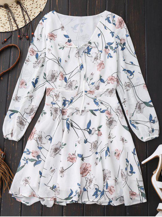 Floral Drop Waist Vestido de manga larga Surplice - Blanco 2XL