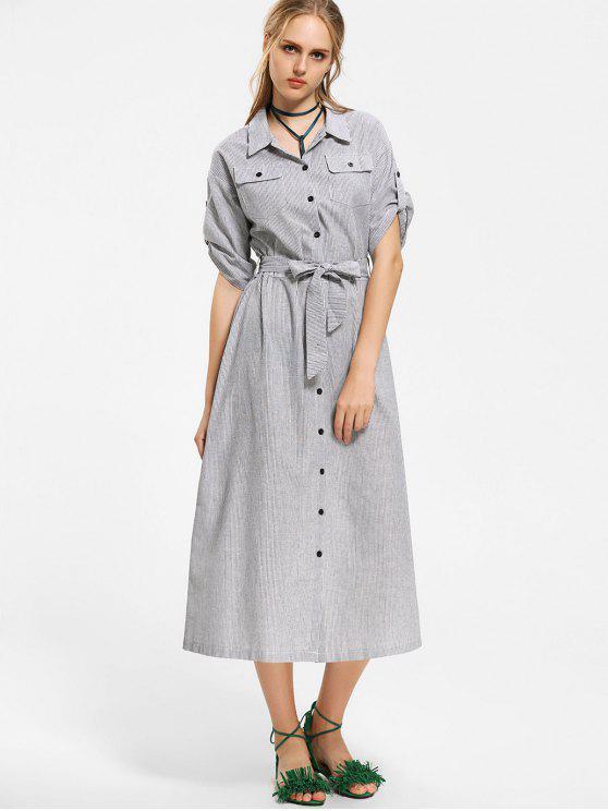 Belize Button Up Stripes Maxi Dress - Listras S