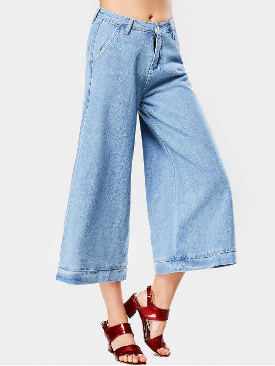 Pantalones de pierna ancha cosida de cintura alta - Azul Claro L