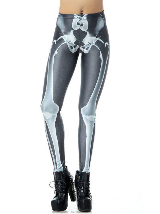 women Halloween Bone 3D Print Leggings - BLACK L