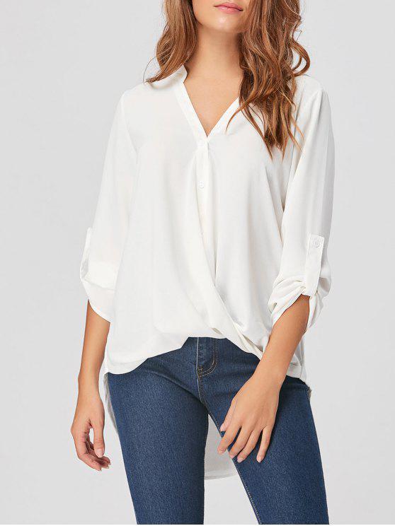 Blusa con cuello alto y bajo en gasa - Blanco XL