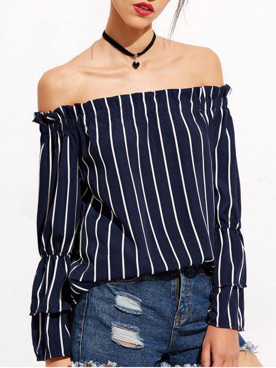 Stripe Bell Sleeve Off The Shoulder Blouse - Bleu Foncé M