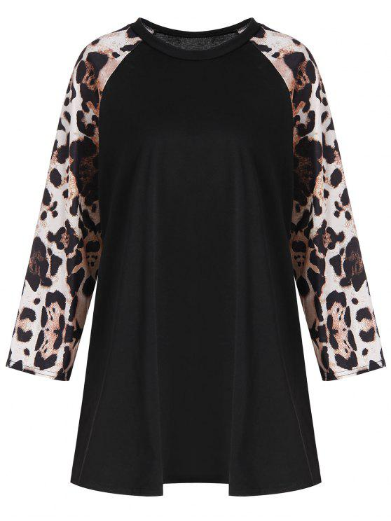outfit Plus Size Leopard Raglan Sleeve Tee - BLACK 5XL