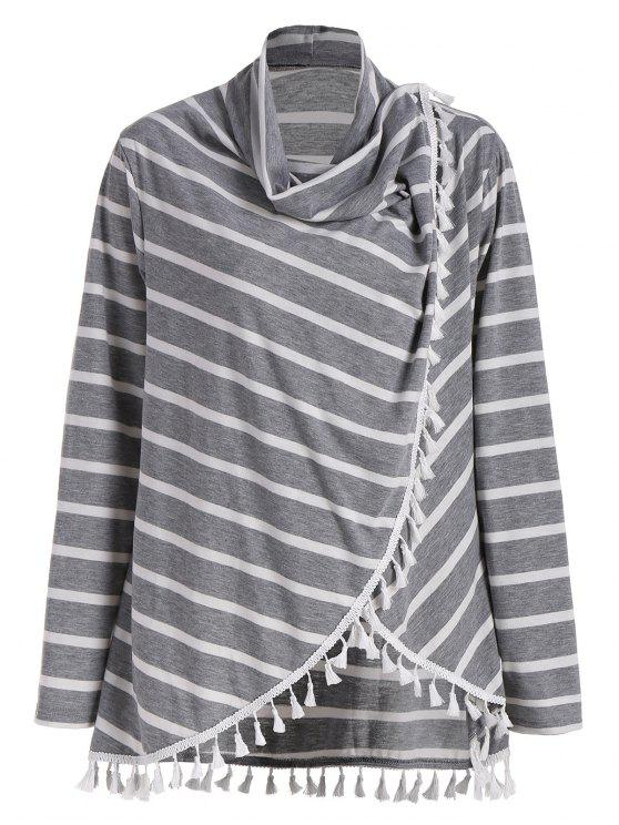 trendy Plus Size Striped Tassel Tee - GRAY 5XL