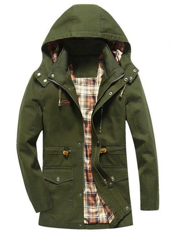 Chaqueta de campo con capucha con cordón - Verde del ejército 4XL