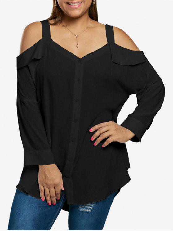 Übergröße Schulterfreie Bluse mit Knöpfe - Schwarz XL