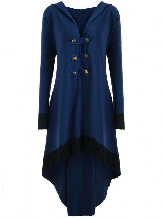 Manteau Grande Taille à Lacets et Capuche Haut-Bas - Bleu 2XL