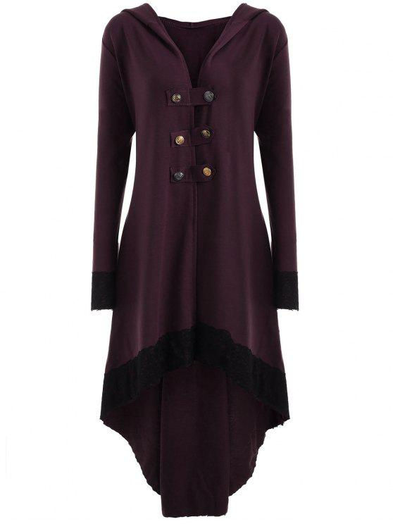 new Lace-up Plus Size Hooded High Low Coat - WINE RED 2XL