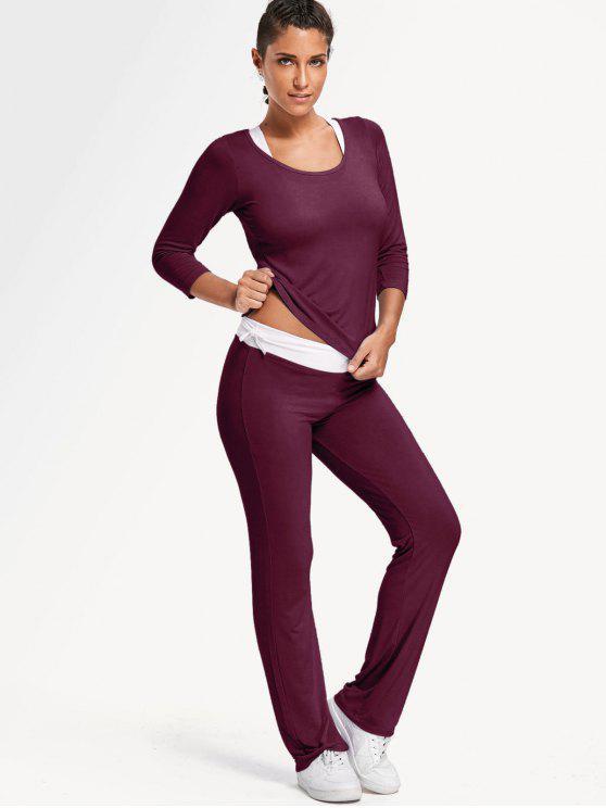 الصدرية الرياضية مع تي شيرت مع السراويل بدلة اليوغا - عنابي اللون XL