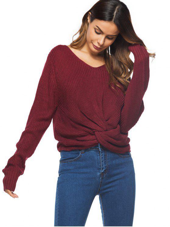 Chunky Pullover mit V-Ausschnitt und Twist - Weinrot Eine Größe