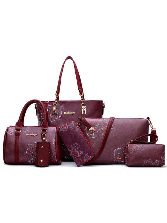 طقم حقيبة كتف من 6 قطع بطبعة أزهار - نبيذ أحمر
