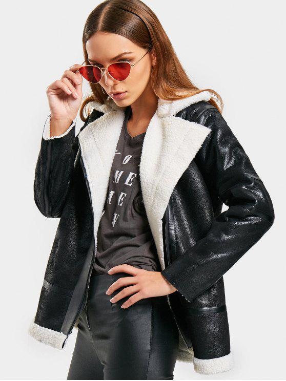 latest Asymmetric Zipper Lapel Coat - BLACK L