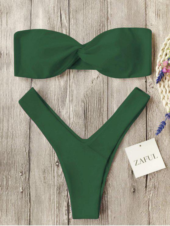 Twist Front Bandeau Thong Bikini - Verde del ejército S
