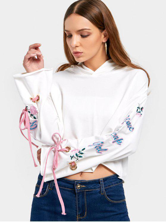 women's Bow Tied Sleeve Embroidered Hoodie - WHITE ONE SIZE
