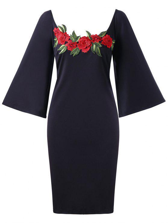 فستان مطرز بأزهار ذو مقاس كبير - أسود 5XL