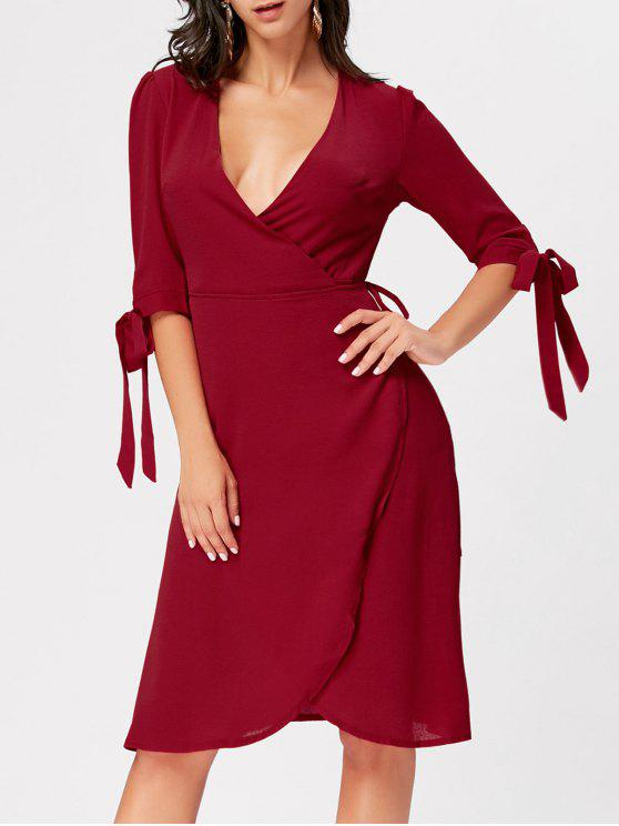 f56cc3fd1376 Plunging Neckline Bowknot Midi Wrap Dress WINE RED  Long Sleeve ...