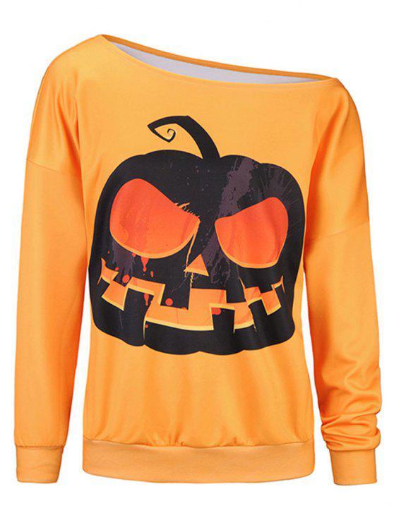 unique Pumpkin 3D Print One Shoulder Sweatshirt - ORANGE L