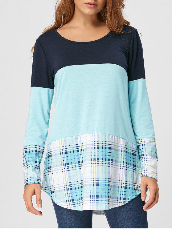 T-shirt à carreaux en dentelle - Bleu clair XL