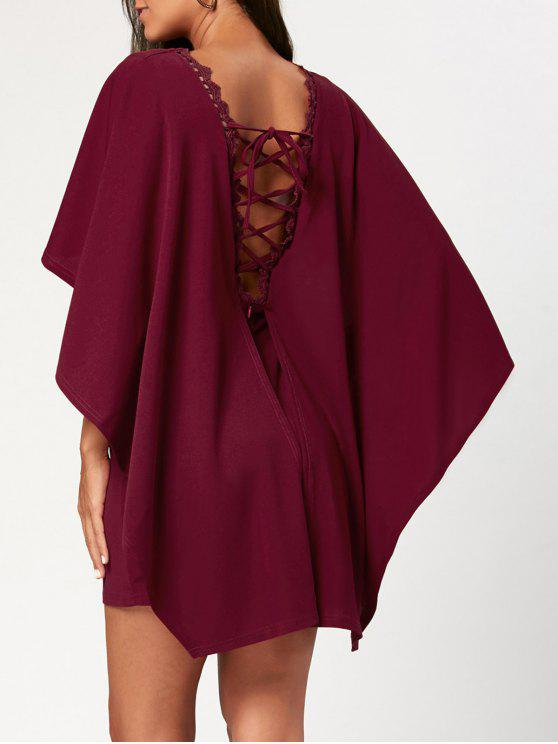 unique Backless Short Cape Dress with Criss Cross - WINE RED 2XL