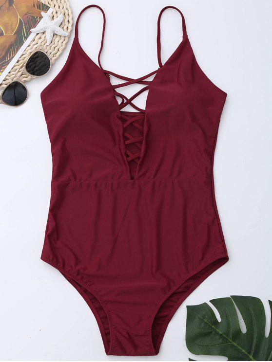 كريسس الصليب قطعة واحدة ملابس السباحة - نبيذ أحمر 2XL