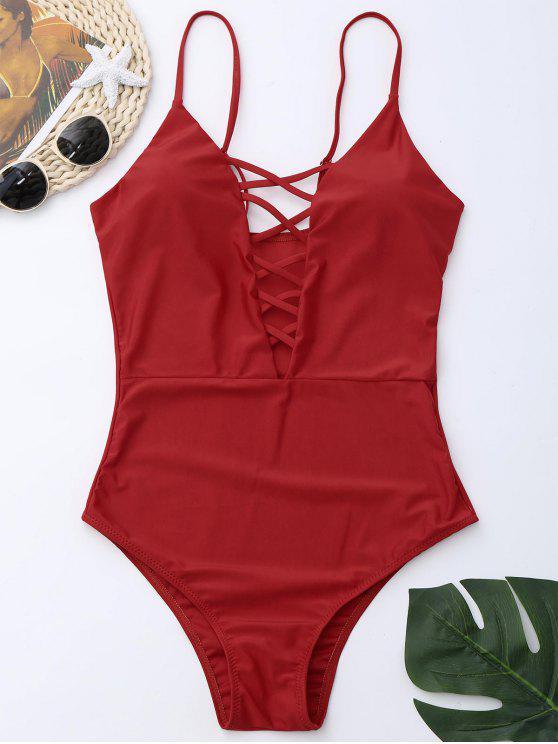 كريسس الصليب قطعة واحدة ملابس السباحة - أحمر M