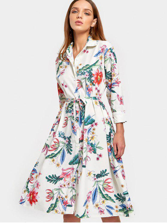 best Long Sleeve Floral Belted Shirt Dress - FLORAL S