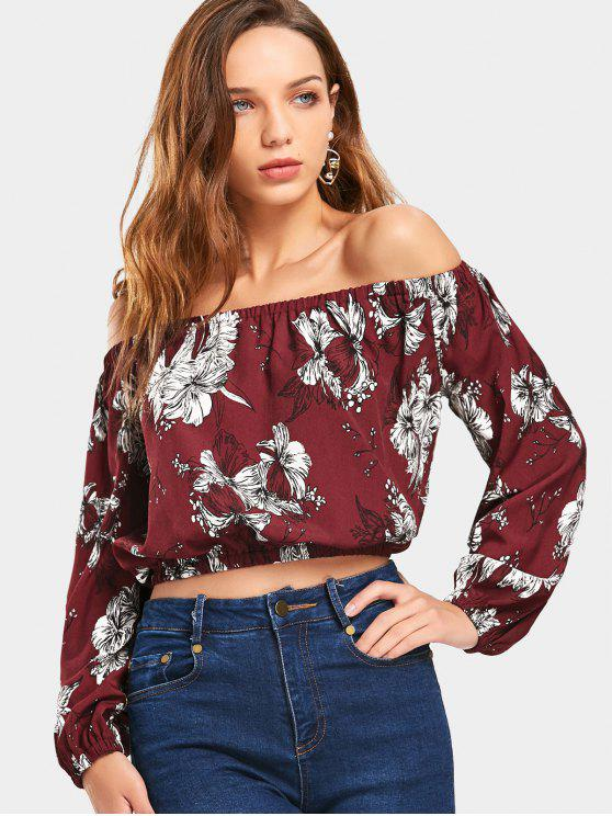 f84ac03752d 30% OFF] 2019 Cropped Floral Off Shoulder Blouse In WINE RED | ZAFUL