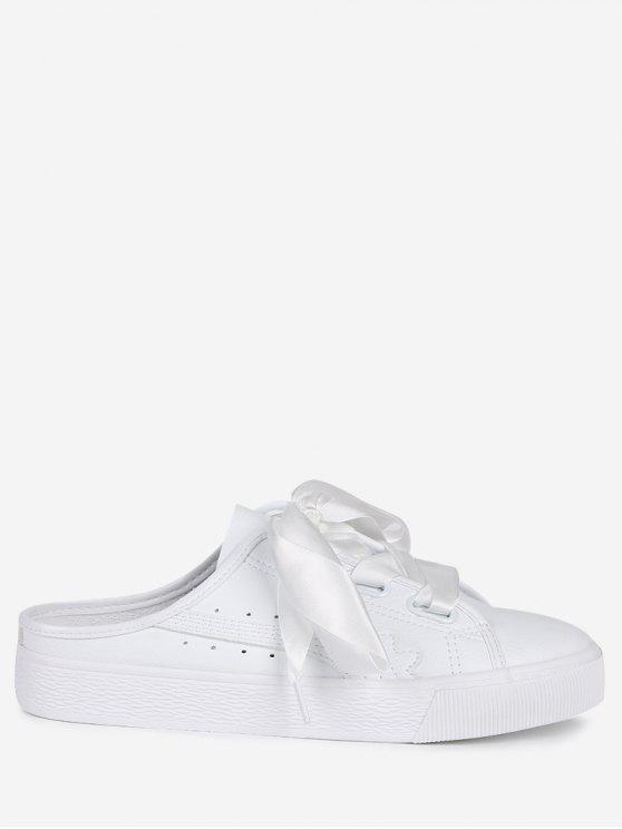 Flache Schuhe aus PU Leder mit Schnürsenkel - Weiß 38