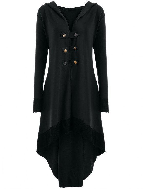 Manteau Grande Taille à Lacets et Capuche Haut-Bas - Noir 2XL