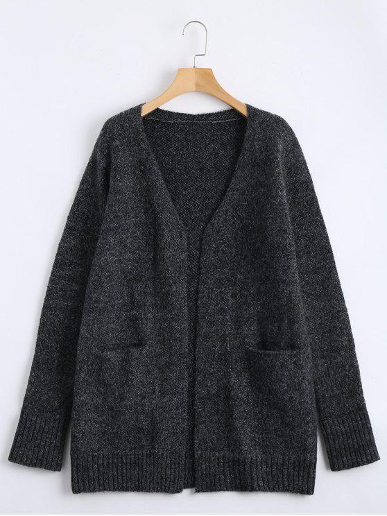 sale Plain Open Front Cardigan with Pockets - DEEP GRAY S