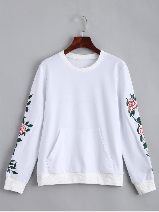 سويت شيرت بجيب الجبهة مرقع بالأزهار - أبيض S
