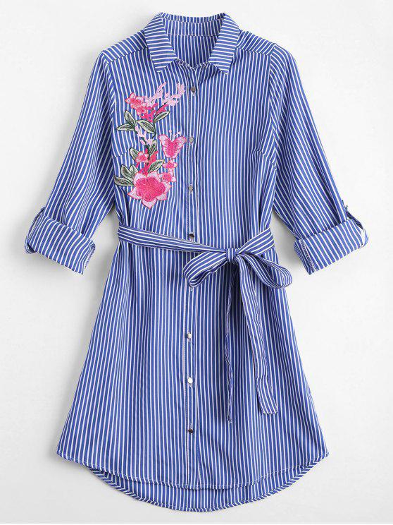 affordable Floral Embroidered Belted Stripes Shirt Dress - STRIPE S