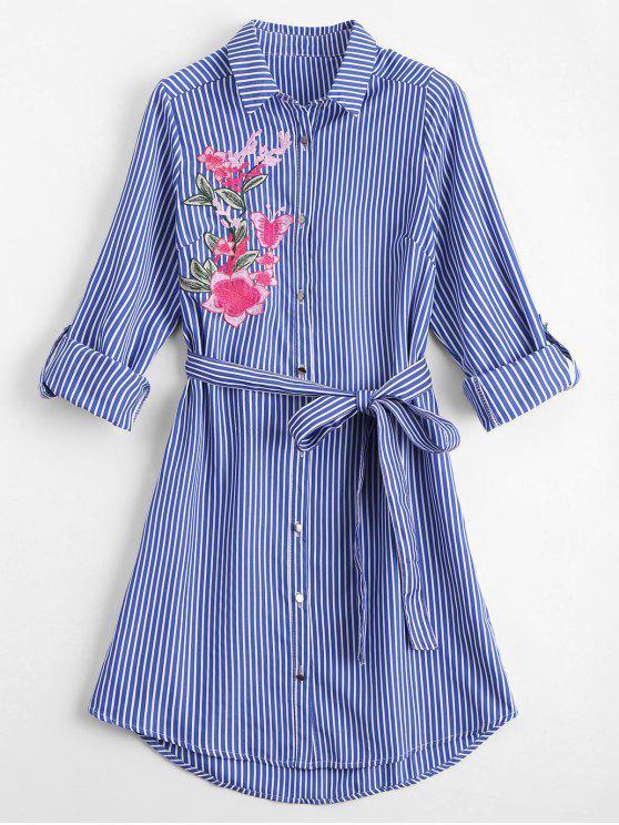 buy Floral Embroidered Belted Stripes Shirt Dress - STRIPE M