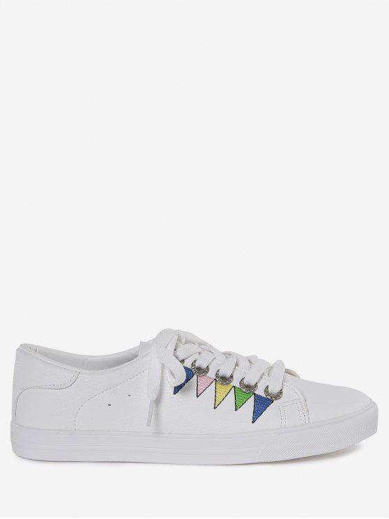 women Stitching Geometric Multicolor Sneakers - WHITE 37