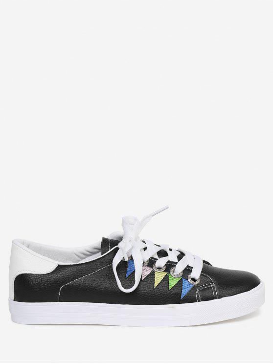Stitching Geometric Multicolor Sneakers - Preto 39